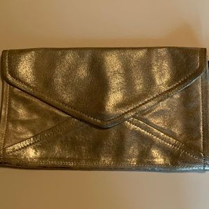 Silver Leather Washed Clutch/Wristlet